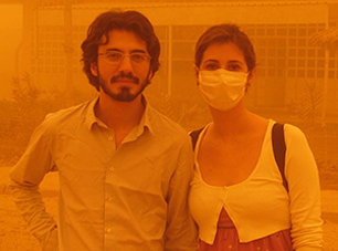 Author Zaid Al-Ali and his wife Rouba Beydoun during a dust storm in Iraq in 2010.